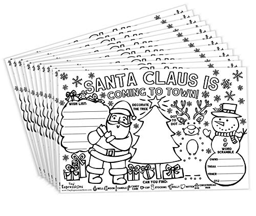Tiny Expressions - Christmas Santa Placemats for Kids (Pack of 12 Holiday Placemats) | Coloring Activity Paper Mats for Kids Table | Disposable Bulk Bundle Set (For Decorate Table Christmas)