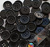 """GANSSIA 0.70"""" (18mm) Sewing Flatback Buttons Colored Black Pack of 100 Pcs"""