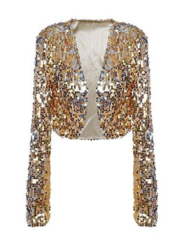 kayamiya Women Sequin Jacket Long Sleeve Sparkly Cropped Shrug Clubwear XL/US 12-14 Gold