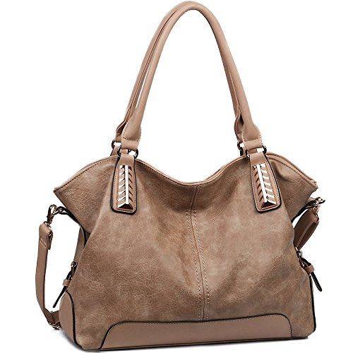 JOYSON Women Handbags Hobo PU Leather Purse Top-Handle Bags Tote Large Shoulder Handbags Khaki