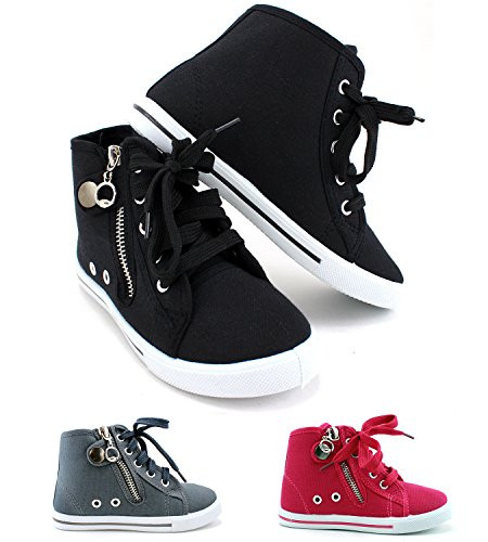 Enimay Girl's High Top Fashion Sneakers Vans Inspired Children's Skate Shoes