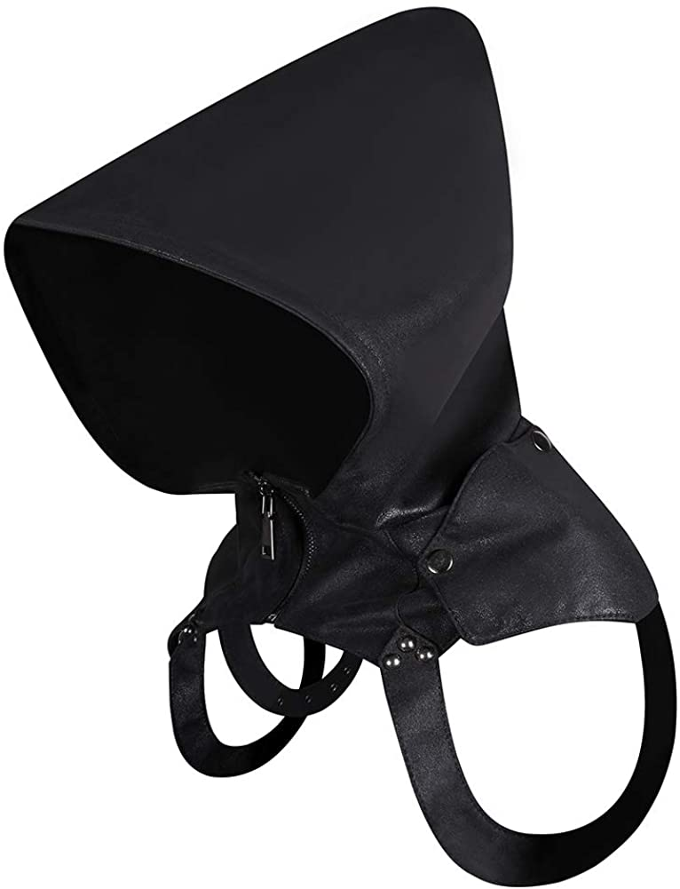 Vintage Style Hooded Zip-up Cape Cloak Gothic Steampunk Hat Cosplay Prop