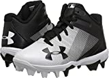 Under Armour Boys' Leadoff Mid Jr. RM Baseball Shoe, Black (011)/White, 5.5