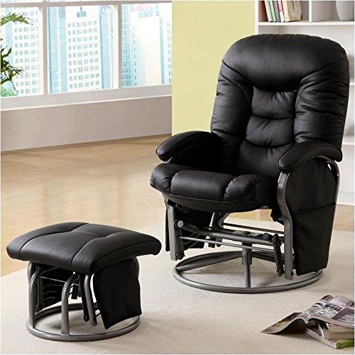 Black Leatherette Cushion Swivel Recliner (Coaster Deluxe Swivel Glider and Ottoman in Black)