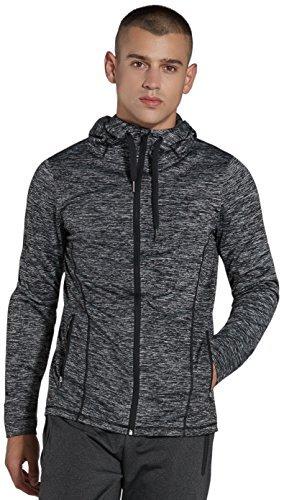 Komprexx Mens Full-Zip Jackets Sports Hoodies Sweatshirts with Pockets 16.5oz M001W(Gray,M)