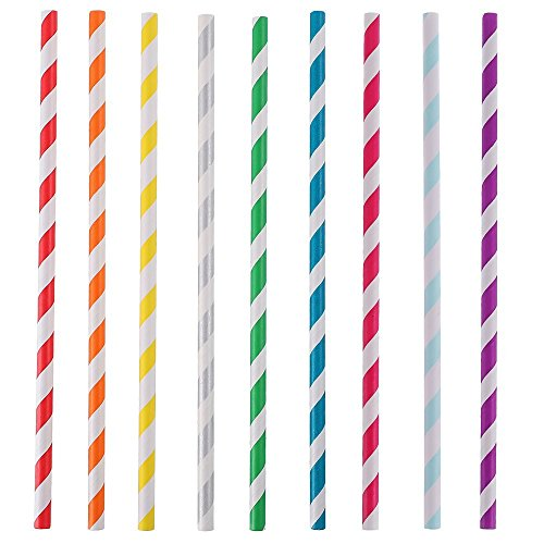 Jesipi Paper Drinking Straws Bulks Assorted Patterns for Wedding Birthday Party Holiday Decor Cake Pop Sticks (Pack of 250) … -
