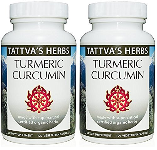 Tattva Herbs Turmeric Curcumin Extract – 100% All Natural Non-GMO Vegan Organic Full Spectrum Extract to Reduce Inflammation and Improve Overall Health 500 mg. 240 Vcaps (2 Pack - 120 ct./ea) by Tattva's Herbs