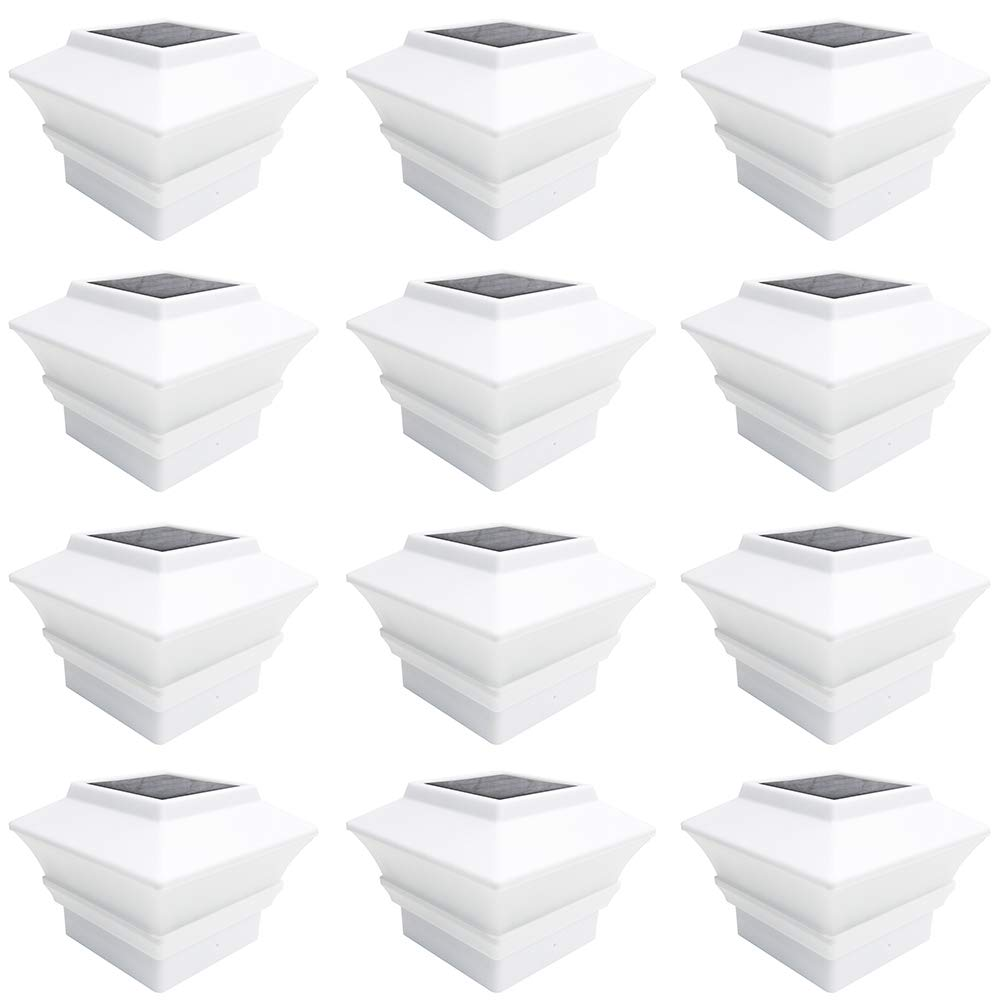 iGlow 12 Pack White Outdoor Garden 4 x 4 Solar LED Post Deck Cap Square Fence Light Landscape Lamp PVC Vinyl Plastic