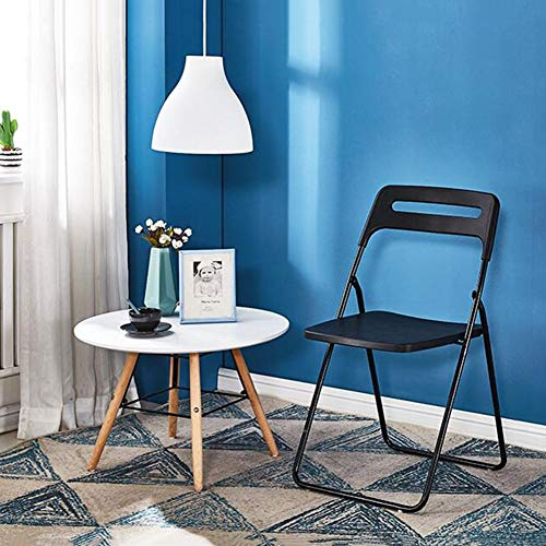 DALL Vikbar kontorsstol metallram ryggstöd matstol datorbord stol plast säte konferensstol (färg: Svart, storlek: 2 delar)