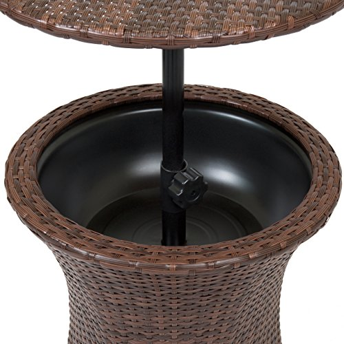 Best Choice Products 7.5-Gallon Outdoor All-Weather Wicker Patio Pool Cooler Bar Table w/Adjustable Top - Brown by Best Choice Products (Image #6)