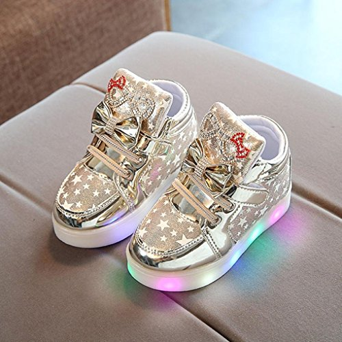 plateado Bow Light Huateng Stage Toddler Shoes Cute Led Sneakers Shine Baby Show Dorado Girl 7qqv5gA