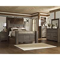Juararoy Casual Dark Brown Color Replicated rough-sawn oak Bed Room Set, Queen Poster Bed, Dresser, Mirror, Nightstand