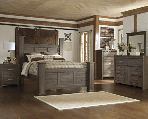 FurnitureMaxx Juararoy Casual Dark Brown Color Replicated rough-sawn oak Bed Room Set, Queen Poster Bed, Dresser, Mirror, Nightstand