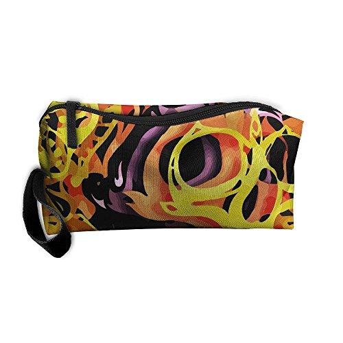 Bing4Bing Magic Fire Skull Printing Portable Receive Bag Sewing Kit Cartridge Bag Cosmetic Bag Oxford Fabric -