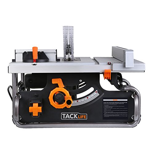 TACKLIFE Table Saw 10-inch, 15AMP, 4800RPM Saw with 45° Bevel Cutting, 40 X 20-inch Max Extendable Work Table, Double Metal Tube Base - PTSG1A