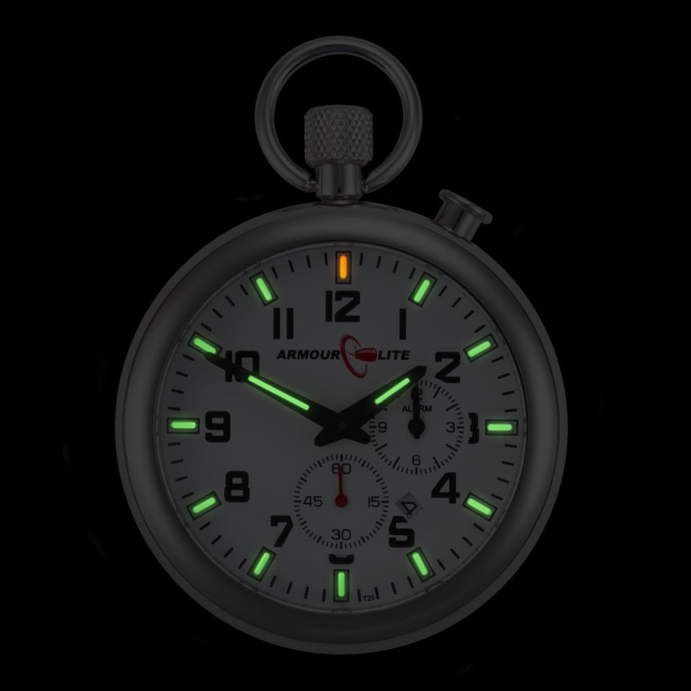 White Dial Alarm Clock Tritium Pocket Watch by Armourlite by Armourlite (Image #2)