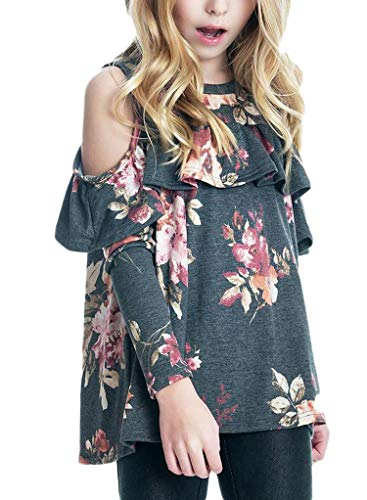 Price comparison product image Bulawoo Girls Big Girls Fashion Tops Casual Tunic Tops Floral Print Cold Shoulder Ruffles Tops Shirts Blouse Year,  Black1,  X-Large / 10-11 Years