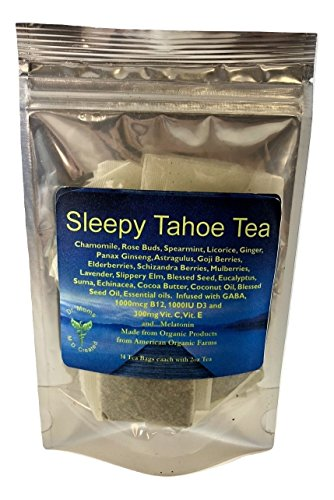 Dr Mom's Supplement Tea - Formulated for Sleep! LOADED with Vitamins! B12, C, E, D3, GABA, Omega 3's, superfoods, MELATONIN, and more! Organic. Calming Tea. (Sleepy Tahoe Tea, 14 Tea Bags)