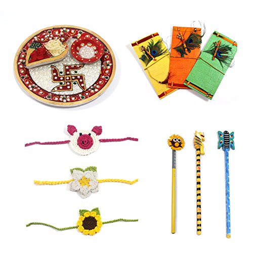Handmade Crafted Raksha Bandhan Festival Competir regalo pack Rakhi Combo (1Marbal Thali, 3Crochet Rakhi,...