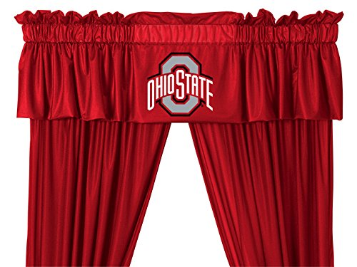 NCAA OSU Ohio State Buckeyes – 5pc Jersey Drapes Curtains and Valance Set(Drapes Size 82 X 63 in.)