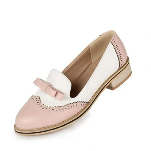 Amazon.com: Mujer Wingtip Oxfords Dulce Arco Patchwork Pisos ...
