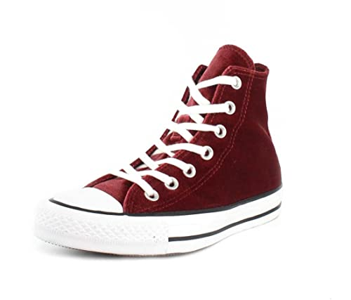 Converse Womens Chuck Taylor All Star Hi Red Block White Velvet Trainers 5  UK