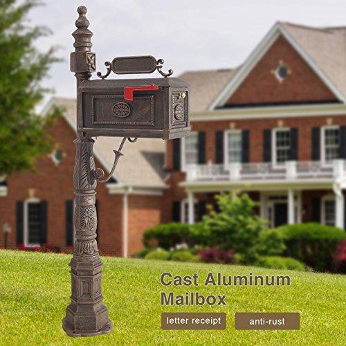 Mecor Mailbox Classic Decorative Aluminum Mailbox Vertical Pedestal (Bronze-1)