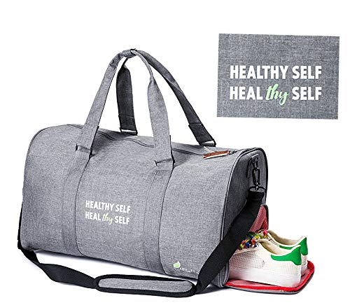 All Soul Great Gym Bag Duffel Gym Bag Charcoal Grey Weekender Duffel Bag with Shoe Compartment   For Men/Women/Boys/Girls/Workout/Crossfit/Sport/Gym/Travel/Fitness/Yoga/Athletes/Office (Victorias Secret Workout Bag)