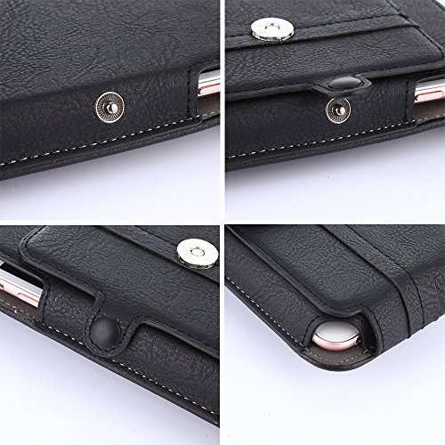 TabPow Premium PU Leather Pouch Carrying Case With Belt Clip Swivel Holster, Card Slots For iPhone 7 Plus/6 Plus (5.5), Samsung Galaxy S7 Edge/S6 Edge Plus/Note 5/Note 4, LG G Stylo 2, and More -