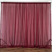BalsaCircle 10 feet x 10 feet Sheer Voile Backdrop Drapes Curtains Panels - Burgundy