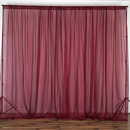 x 10 feet Burgundy Sheer Voile Backdrop Drapes Curtains - Wedding Ceremony Party Home Decorations ()