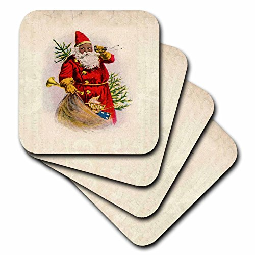 African American Mug (3dRose cst_62169_1 Illustration of African American Santa Claus Soft Coasters, Set of 4)