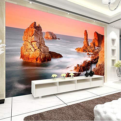 (3D Wall Stickers Wallpaper Decorations Murals Sunset Pulpit Rock Seaside Home Decor Bedroom Living Room Art Girls Tv (W)250X(H)175Cm)