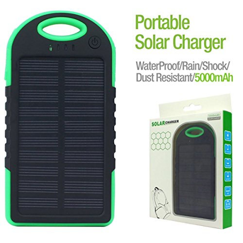Outdoor Solar Charge 5000mAh Portable Backup Power Bank with 1Ah Dual USB Ports