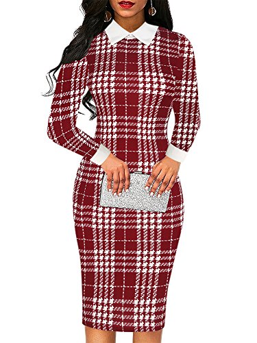 oxiuly Women's Retro Bodycon Knee-Length Formal Office Dresses Pencil Midi Dress OX275 (S, Red Plaid)
