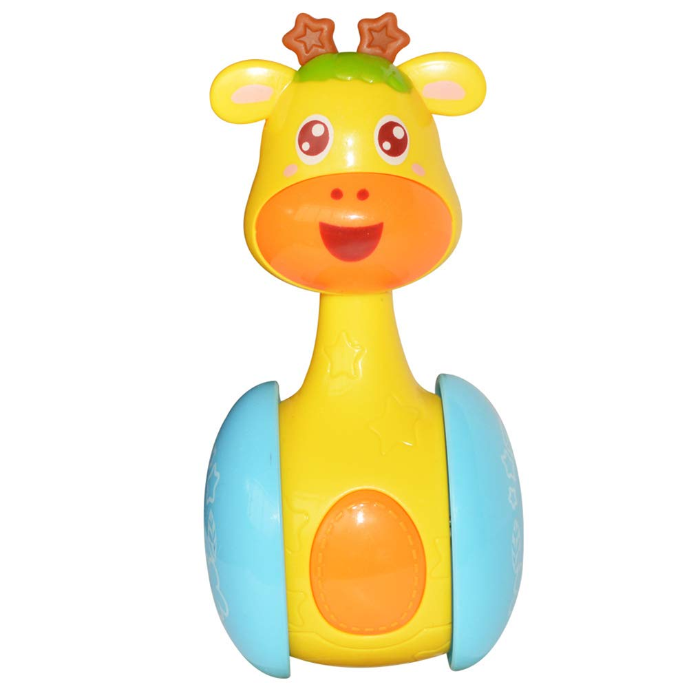 YUnnuopromi Baby Rattles Tumbler Toy, Cute Cartoon Deer Doll Bell Music Learning Educational Toy for Baby Boys/Girls Xmas Birthday Gift Colorful