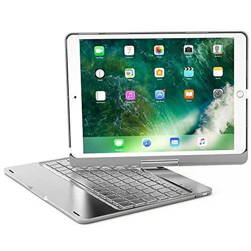 iPad Pro 10.5 Arabic Keyboard Case, 7 Colors Adjustment LED Backlit and Breathing Light Aluminum Wireless Bluetooth Keyboard With 360 Degree Rotatable Cover For iPad Pro 10.5 A1701/A1709 (Silver) (Keyboard Ipad Arabic)