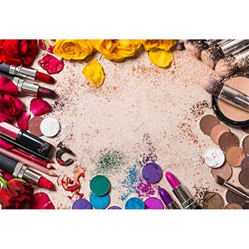 - Laeacco 7x5ft Make Up Cosmetics Circle Vinyl Photography Background Cosmetic Brush Rouge Eyeshadows Powder Smear Yellow Flowers Backdrop Make Up Vlogger Live Banner Wallpaper Studio Props