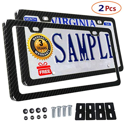 Frame Body Cover Side (Carbon Fiber License Plate Frames Slim Size Metal Frame With Screw Covers Large Size Shock Pad Bonus Car Non-slip Mat (2 holes-2Pcs))