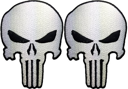 [Set 2 of Punisher Skull Sew on Iron on Embroidered Applique Patch - White - By Ranger Return] (Custom Snake Eyes Costumes)