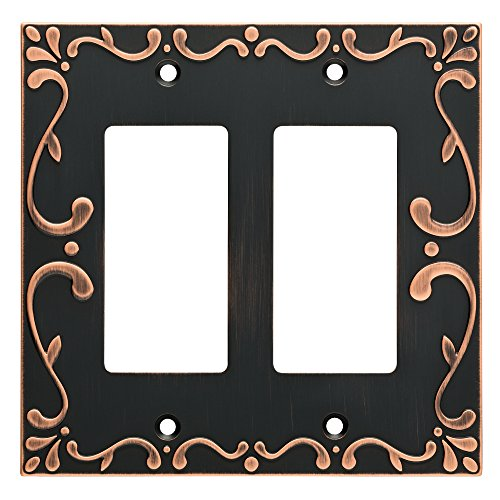 Franklin Brass W35077-VBC-C Classic Lace Double Decorator Wall Switch Plate/Cover, Bronze With Copper Highlights