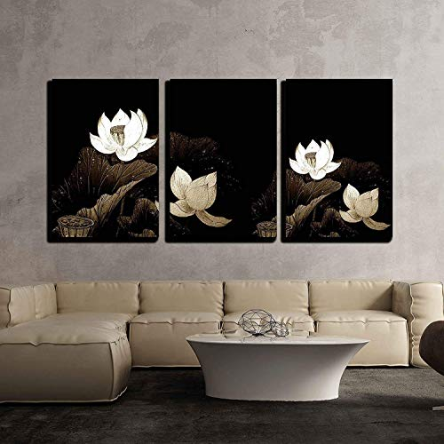 Abstract of Brown Lotus for Background Used x3 Panels
