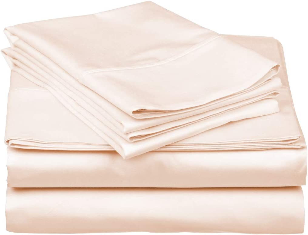 True Luxury 1000-Thread-Count 100% Egyptian Cotton Bed Sheets, 4-Pc Queen Cream Sheet Set, Single Ply Long-Staple Yarns, Sateen Weave, Fits Mattress Upto 18'' Deep Pocket