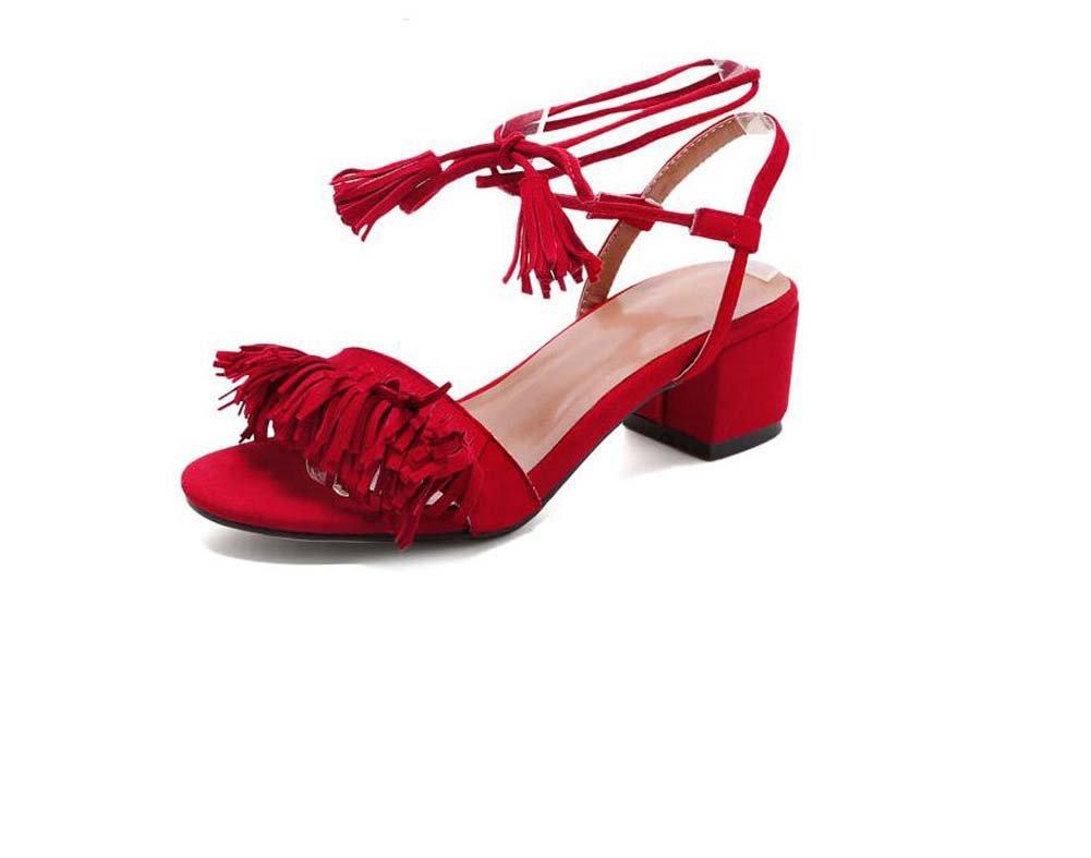 MYI Damenschuhe Sandalen Sommer Leder Quaste Strap Open-Toed High Heels  39 EU|Rot