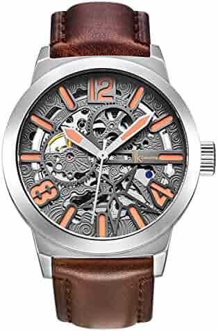 ac9db2215 Erbida Classic Steampunk Watch,See-Thru Dial Big Face Automatic Brown  Leather Band Watch