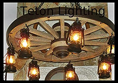 "The Wild West Rustic Wagon Wheel Chandelier, 42"", Large"