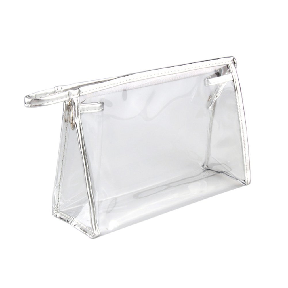 Amazon.com : Clear Vinyl Zippered Cosmetic Bag Carry Case