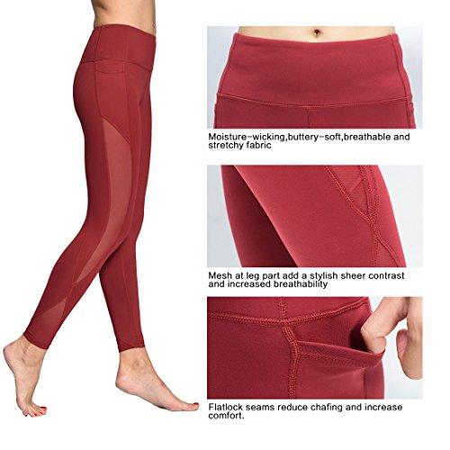 Chikool Yoga Leggings for Women Running Workout Pants Mesh Fitness Yoga Capri w Phone Pocket