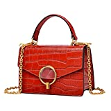 PIJUSHI Crocodile Crossbody Shoulder Handbag For Women Fashion Small Top Handle Satchel Bags (J40 Dark red)