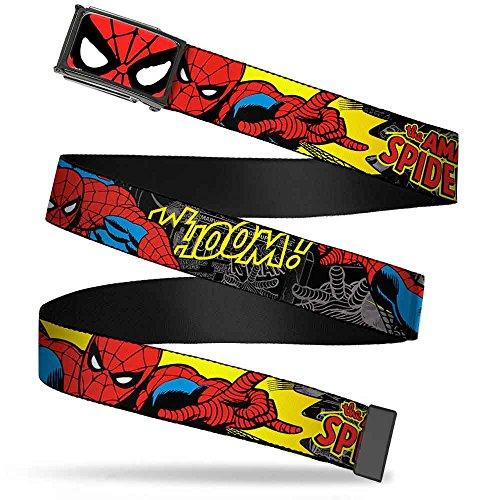 "Marvel Comics Spider Man Face Close Up Fcg 1.0"" Chrome Spider Man In Action Web Belt 1.0"" Wide"